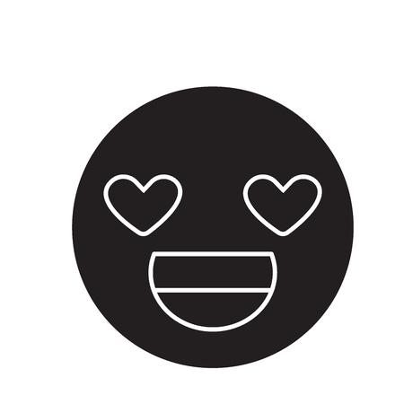 Love you emoji black vector concept icon. Love you emoji flat illustration, sign, symbol
