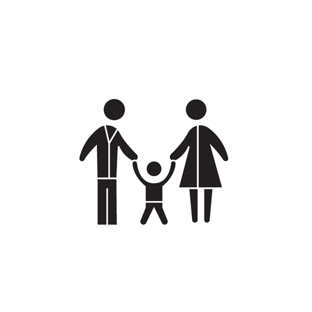 Loving child black vector concept icon. Loving child flat illustration, sign, symbol