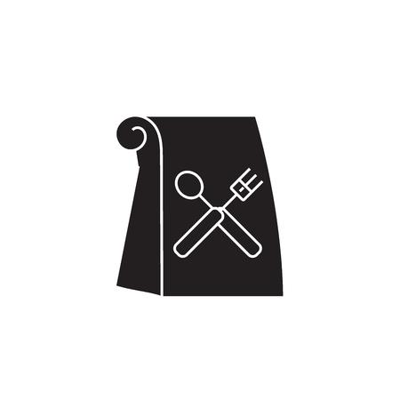 Lunch bag black vector concept icon. Lunch bag flat illustration, sign, symbol