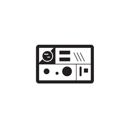 Lunch box black vector concept icon. Lunch box flat illustration, sign, symbol