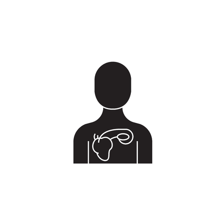 Lung diseases black vector concept icon. Lung diseases flat illustration, sign, symbol Stockfoto - 126909759