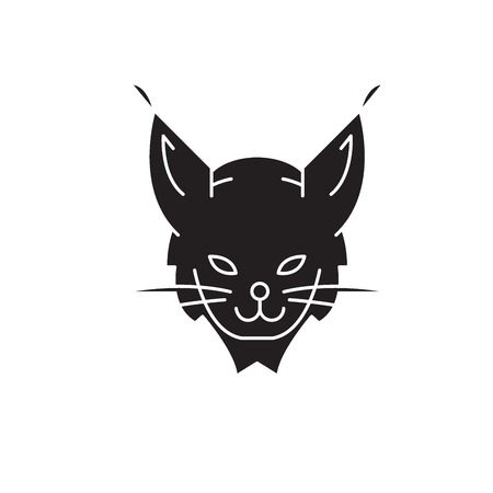 Lynx head black vector concept icon. Lynx head flat illustration, sign, symbol