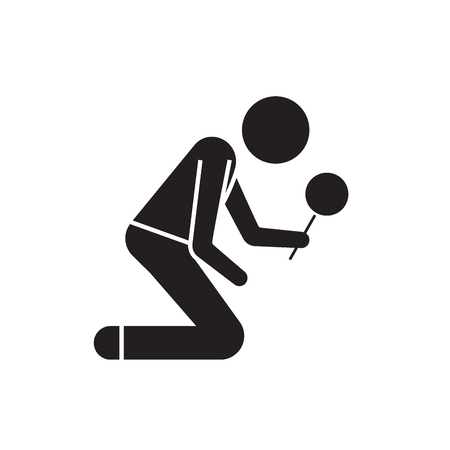Man searching with magnifying glass black vector concept icon. Man searching with magnifying glass flat illustration, sign, symbol