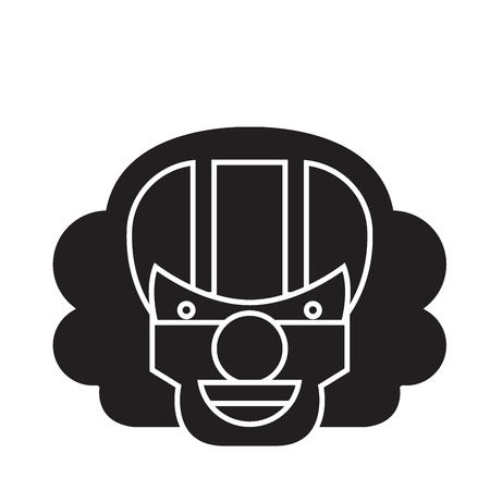 Killer clown emoji black vector concept icon. Killer clown emoji flat illustration, sign, symbol