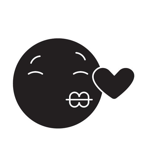 Kissing emoji black vector concept icon. Kissing emoji flat illustration, sign, symbol Reklamní fotografie - 113640954