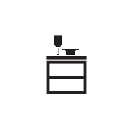 Kitchen cupboard black vector concept icon. Kitchen cupboard flat illustration, sign, symbol Ilustrace