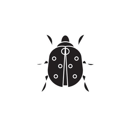 Ladybug black vector concept icon. Ladybug flat illustration, sign, symbol Ilustracja