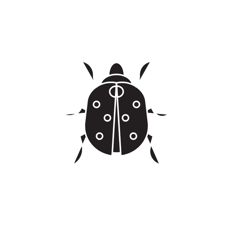 Ladybug black vector concept icon. Ladybug flat illustration, sign, symbol 向量圖像