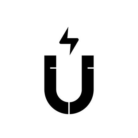 Icona di concetto di vettore nero magnete. Magnete illustrazione piana, segno, simbolo
