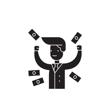 Making money black vector concept icon. Making money flat illustration, sign, symbol