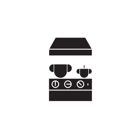 Kitchen stove black vector concept icon. Kitchen stove flat illustration, sign, symbol Ilustração