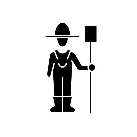 Male farmer with hayfork black vector concept icon. Male farmer with hayfork flat illustration, sign, symbol Foto de archivo - 126909774