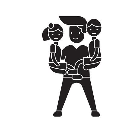 Man babysitter black vector concept icon. Man babysitter flat illustration, sign, symbol