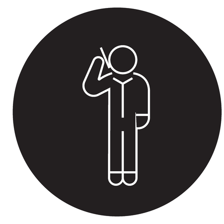 Man calling by smartphone black vector concept icon. Man calling by smartphone flat illustration, sign, symbol