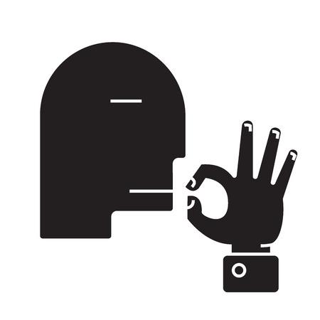 Man kissing fingers  black vector concept icon. Man kissing fingers  flat illustration, sign, symbol