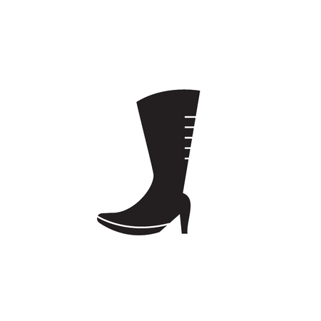 Knee high boots black vector concept icon. Knee high boots flat illustration, sign, symbol
