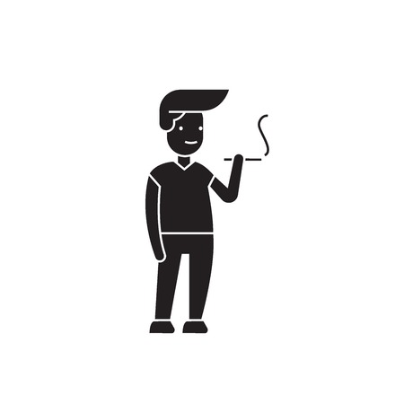 Man smoking black vector concept icon. Man smoking flat illustration, sign, symbol Archivio Fotografico - 126909784