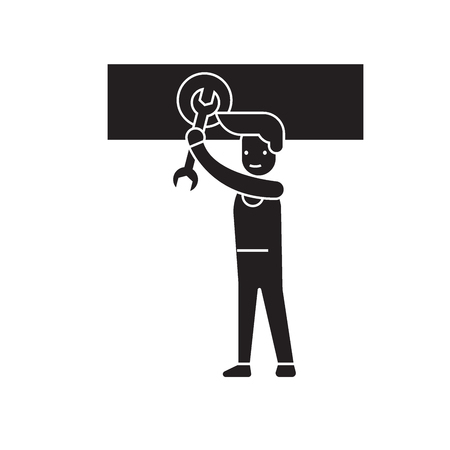 Man spinning the nut black vector concept icon. Man spinning the nut flat illustration, sign, symbol
