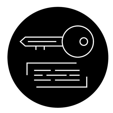 Marketing keywording black vector concept icon. Marketing keywording flat illustration, sign, symbol
