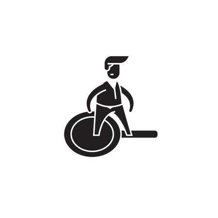 Marketing reasercher black vector concept icon. Marketing reasercher flat illustration, sign, symbol