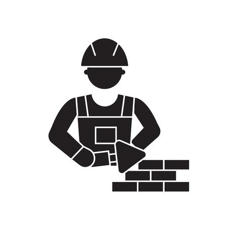 Mason bricklayer black vector concept icon. Mason bricklayer flat illustration, sign, symbol