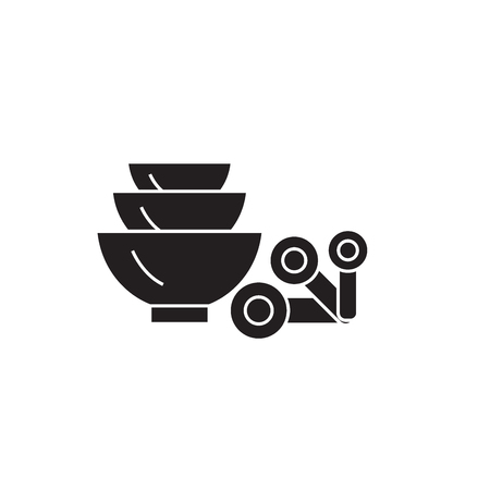 Measuring spoons black vector concept icon. Measuring spoons flat illustration, sign, symbol