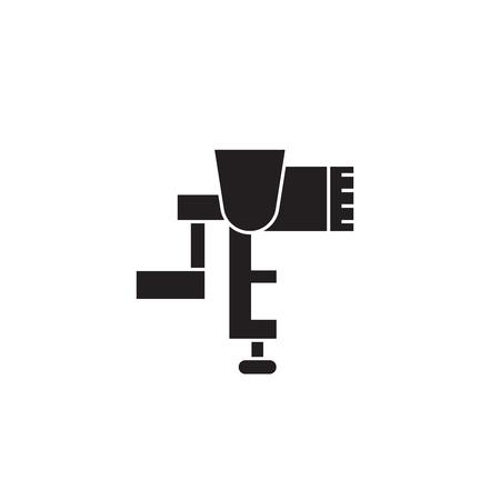 Meat grinder black vector concept icon. Meat grinder flat illustration, sign, symbol Ilustração