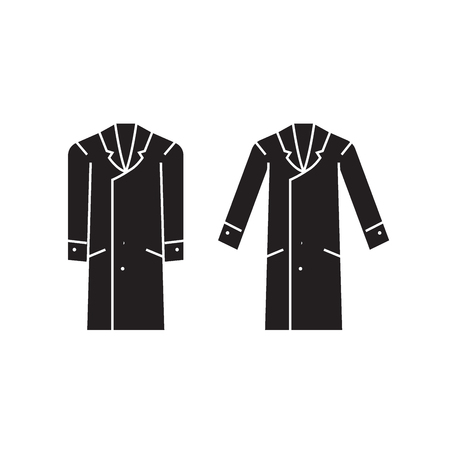 Men overcoat black vector concept icon. Men overcoat flat illustration, sign, symbol Foto de archivo - 113758969