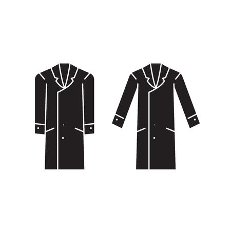 Men overcoat black vector concept icon. Men overcoat flat illustration, sign, symbol Illustration
