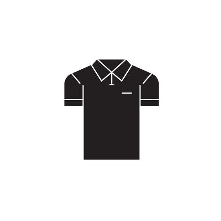 Men polo black vector concept icon. Men polo flat illustration, sign, symbol