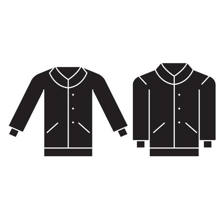 Men pullover black vector concept icon. Men pullover flat illustration, sign, symbol
