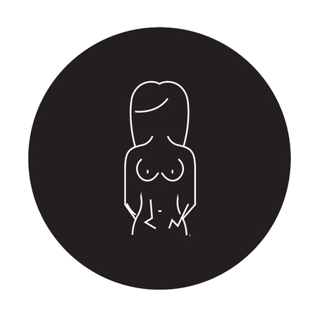 Menstrual pain black vector concept icon. Menstrual pain flat illustration, sign, symbol Standard-Bild - 126909795