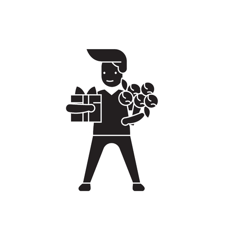 Man with giftbox and flowers black vector concept icon. Man with giftbox and flowers flat illustration, sign, symbol