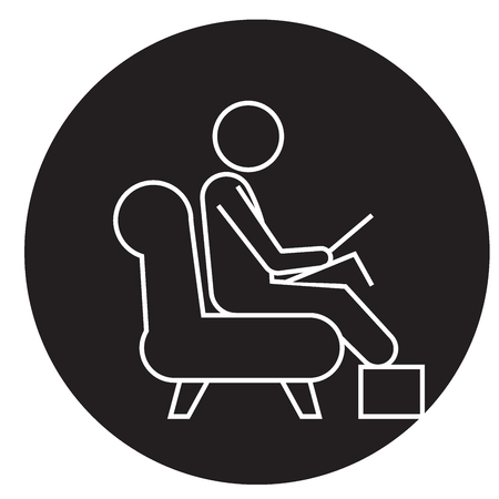Man working on laptop at home black vector concept icon. Man working on laptop at home flat illustration, sign, symbol