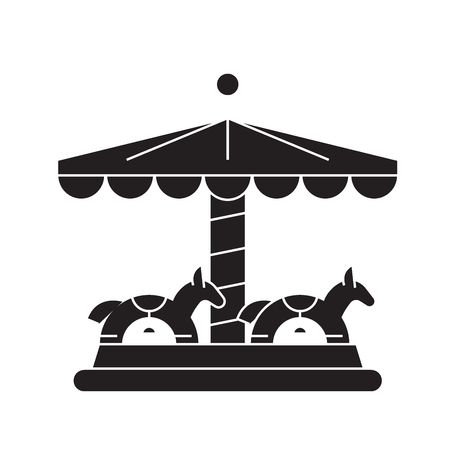 Merry-go-round black vector concept icon. Merry-go-round flat illustration, sign, symbol Illustration