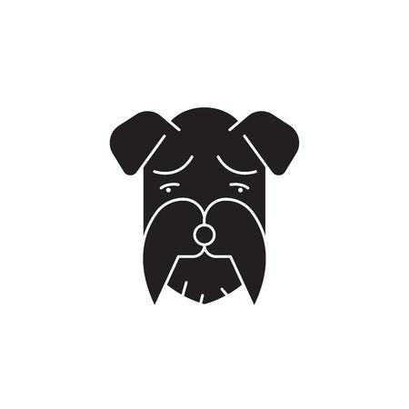 Miniature schnauzer black vector concept icon. Miniature schnauzer flat illustration, sign, symbol