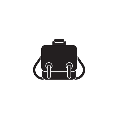 Messenger bag black vector concept icon. Messenger bag flat illustration, sign, symbol Zdjęcie Seryjne - 126909816