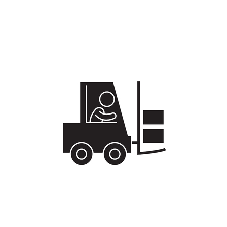 Mighty forklift black vector concept icon. Mighty forklift flat illustration, sign, symbol