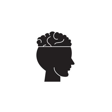 Migraine black vector concept icon. Migraine flat illustration, sign, symbol