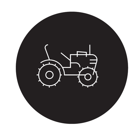 Mini tractor black vector concept icon. Mini tractor flat illustration, sign, symbol