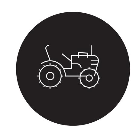 Mini tractor black vector concept icon. Mini tractor flat illustration, sign, symbol