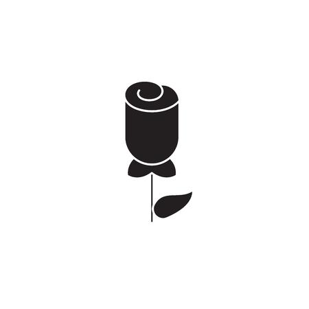 One tulip black vector concept icon. One tulip flat illustration, sign, symbol Illusztráció
