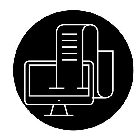 Online blog, journalist black vector concept icon. Online blog, journalist flat illustration, sign, symbol