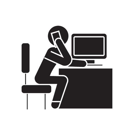 Office employee calling in office black vector concept icon. Office employee calling in office flat illustration, sign, symbol Illustration