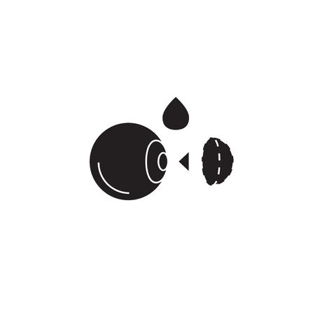 Moisturizing contact lenses black vector concept icon. Moisturizing contact lenses flat illustration, sign, symbol 向量圖像