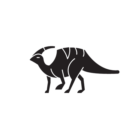 Parasaurolophus black vector concept icon. Parasaurolophus flat illustration, sign, symbol