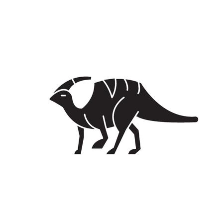 Parasaurolophus black vector concept icon. Parasaurolophus flat illustration, sign, symbol