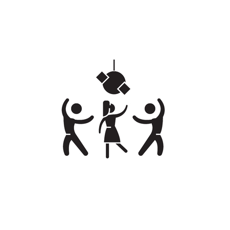 Party time black vector concept icon. Party time flat illustration, sign, symbol