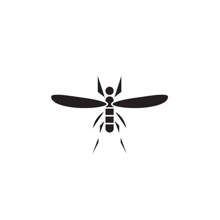Mosquito black vector concept icon. Mosquito flat illustration, sign, symbol Иллюстрация