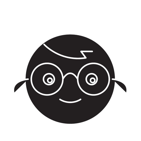 Nerdy emoji black vector concept icon. Nerdy emoji flat illustration, sign, symbol